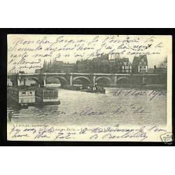 75 - Paris - Le pont neuf à la Cite - Peniche