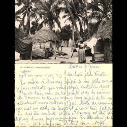 Sénégal - Cases indigènes - Animée - CPSM