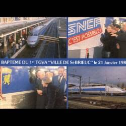 Bapteme du 1er TGVA Ville de St Brieuc le 21 janvier 1989 - Carte neuve