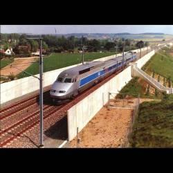 Rame TGV A 325 au PK 167 de la ligne nouvelle à Varennes lors d'un essai à 460km/h le 10 mai 1990 - Carte neuve