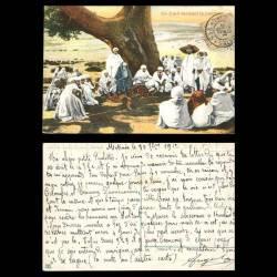 Maroc - Un caïd rendant la justice - Couleur - Timbre de la poste chérifienne à 1 centime et cachet Trésor et Postes N°