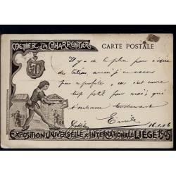 Belgique - Expo. Universelle Liege 1905 - Métier des charpentiers - illustrée par Théo Smeets - Edition du journal Liege