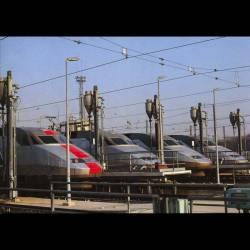 Le TGV sous toutes ses coutures - 05-W-A Chatillon fin novembre 1989,rame 317 avec sa bande rouge,ainsi que 3 autres TGV