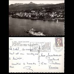 74 - Evians les Bains - Vue aerienne  - Bateau sur le Leman - CPSM