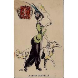 La mode nouvelle - Elégante et son Barzoï - 1911