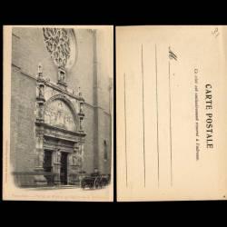 31 - Toulouse - Portail et rosace de l'eglise de la Dalbade - Attelage - Dos no
