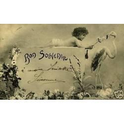 Bergeret - Bon Souvenir - Enfant et Flamand rose