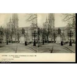 BELGIQUE - ANVERS - STATUE RUBENS ET CATHEDRALE