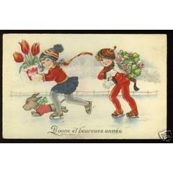 Deux filles patinant avec le chien illustree par ???