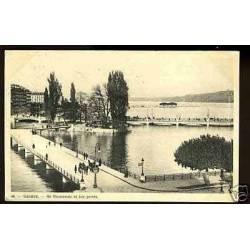 Suisse - Geneve - Ile roousseau et les ponts