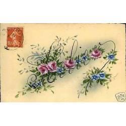 Prenom Helier et fleurs sur carte peinte