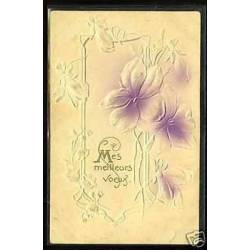 Bouquet de fleurs - Carte en Relief - Art deco