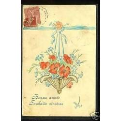 Bouquet de fleurs - Carte en Relief - Bonne annee