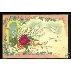 Fleurs et colombes - Carte en Relief