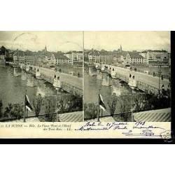 Suisse - Bale - Vieux Pont et hotel des Trois Rois