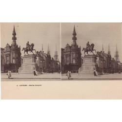 Belgique - Anvers-Statue leopold-Vue stéréoscopiqu