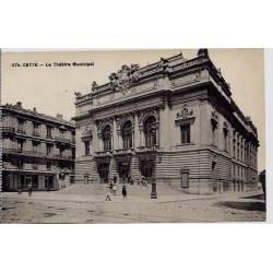 34 - Cette - Le théatre municipal - Non voyagé - Dos divisé