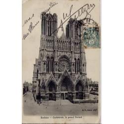 51 - Reims - Cathédrale - Le grand Portail - Voyagé - Dos non divisé