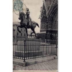 51 - Reims - Statue de Jeanne d'Arc - Voyagé - Dos non divisé