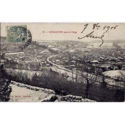 54 - Longuyon - Ville sous la neige - Voyagé - Dos divisé