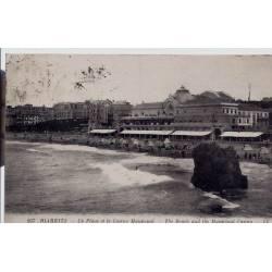 64 - Biarritz - La plage et le Casino Municipal - Voyagé - Dos divisé