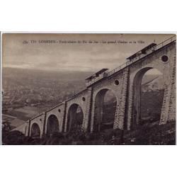 65 - Lourdes - Funiculaire du Pic du Jer - Le grand Viaduc et la ville - Non v