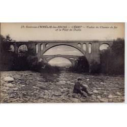 66 - Céret - Environ d'Amélie-les-Bains - Viaduc du chemin de fer et le pont d