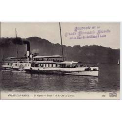 74 - Evian-les-Bains - Bateau - Le vapeur 'évian' et la côte de Savoie - Non v