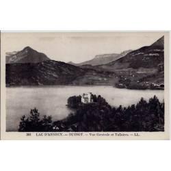 74 - Lac d' Annecy - Duingt - Vue générale et talloires - Voyagé - Dos divisé