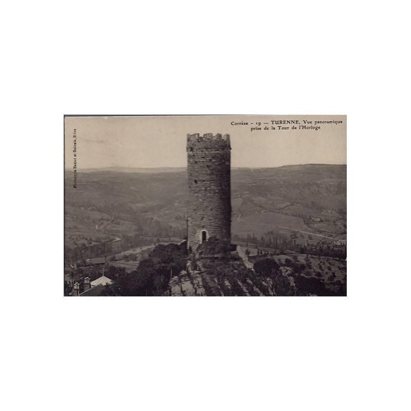 19 - Turenne - Vue panoramique prise de la Tour de l' Horloge - Voyagé - Dos...