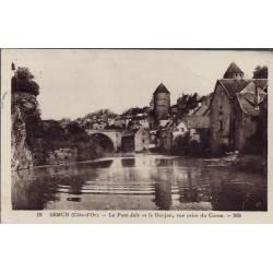 21 - Semur - Le pont Joly et le Donjon, vue prise du Caron - Voyagé - Dos di...