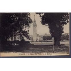 27 - Evreux - le square du théatre et le Beffroi - Voyagé - Dos divisé...