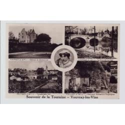 """37 - Vouvray-les-Pins - Carte """" Souvenir de la Touraine"""" avec différentes v..."""