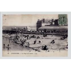 50 - Cherbourg - La plage et le Casino - Voyagé - Dos divisé