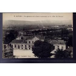71 - Autun - vue générale de la gare et panorama sur la vallée de l' Arroux -