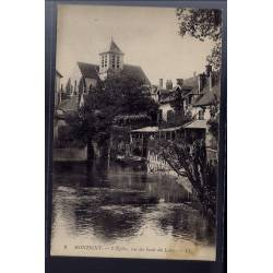 77 - Montigny - L' église - vue des bords du Loing - Voyagé - Dos divisé