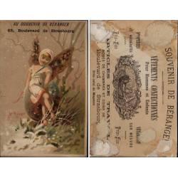 Chromo Au souvenir de Béranger - L'Hiver - Paris - Colle au dos - 11.5
