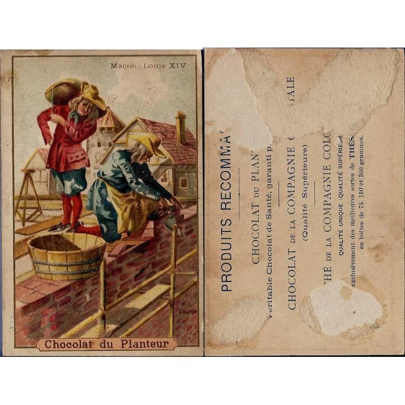Chromo - Chocolat du Planteur - Maçon sous Louis XIV - Traces de colle