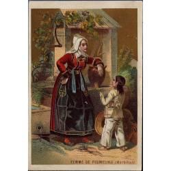 Chromo - Femme de Plumeliau au puits - Morbihan - Bon état - 12 cm x 8