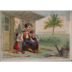 Chromo - Le reve du paysan - Bon état - 8 cm x 11 cm