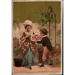 Chromo - Couple d'enfants - Ce bouyquet et mon coeur - Bon état - 11 c