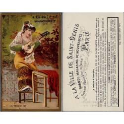 Chromo - A la ville de St Denis - La mandoline - Bon état - 10.5 cm x