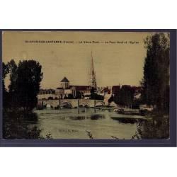 86 - St-Savin-sur-Gartempe - le vieux pont - le Pont neuf et l' église - No