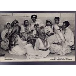 Algérie - Scènes et types - Groupe d'arabes autour du Kaoua - Très beau plan animé