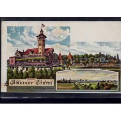 Allemagne - Gruss vom Ahlemer Thurm bei Hannover - Panorama Hannover - Litho par Oppermann - Carte coupé en bas sur 1cm