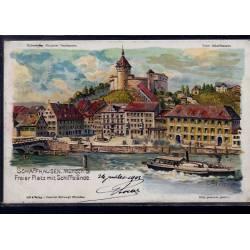 Suisse - Schaffhausen - Munoth & Freier Platz mit Schiffslände - Litho