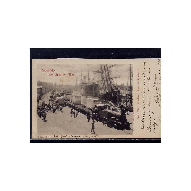 Argentine - Recuerdo de Buenos Aires - Calle Pedro Mendoza - Boca del Riachuelo - 1903 - Train - Bateaux - Animée