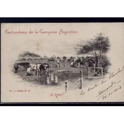 Argentine - Costumbres de la campana Argentina - La Ordena - La traite des vaches - 1903